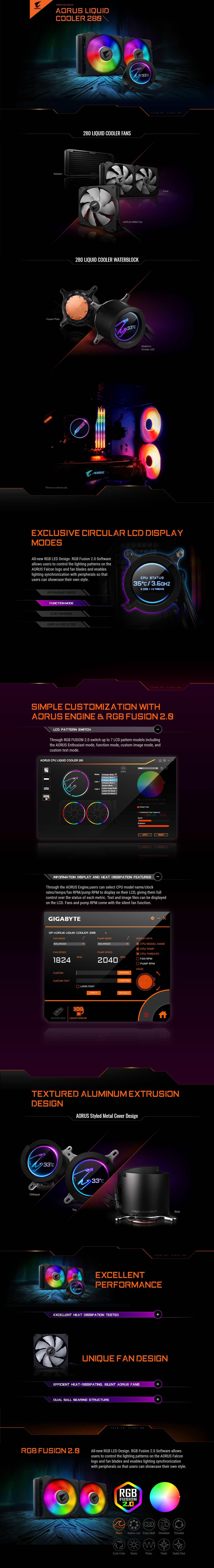 A large marketing image providing additional information about the product Gigabyte Aorus RGB 280 AIO Liquid Cooler - Additional alt info not provided