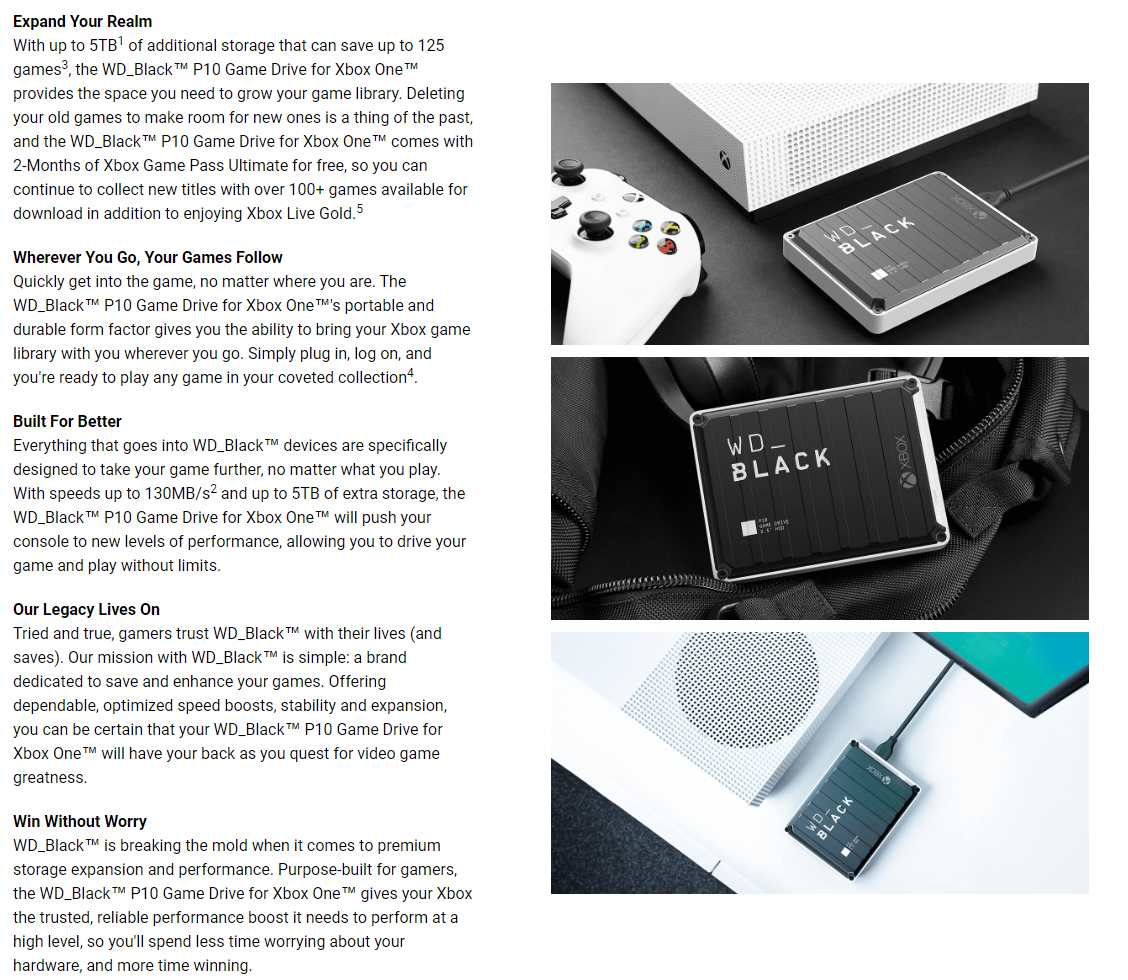 A large marketing image providing additional information about the product WD_BLACK P10 for XBOX 3TB Portable Hard Drive - Additional alt info not provided