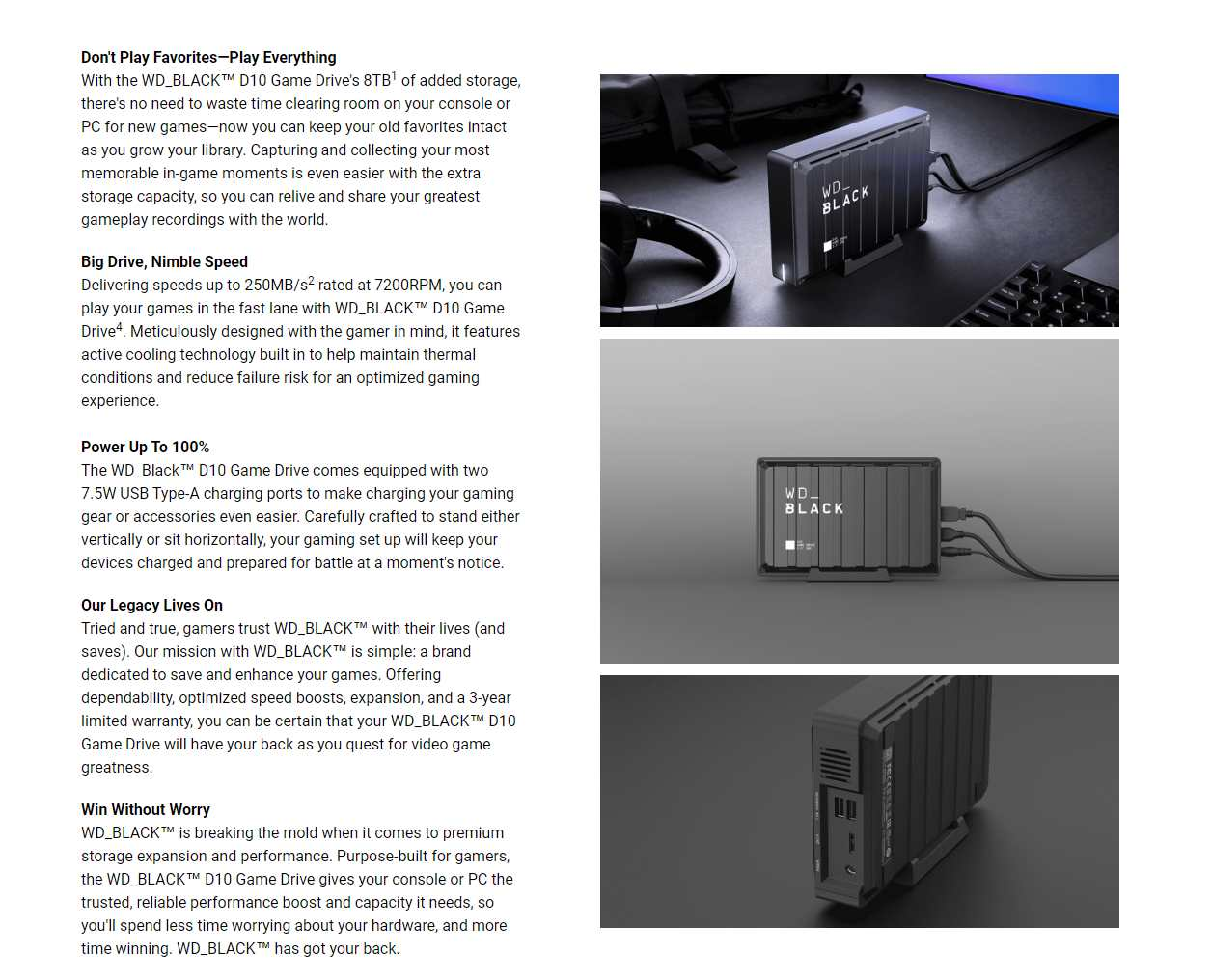 A large marketing image providing additional information about the product WD_BLACK D10 8TB Desktop External Hard Drive - Additional alt info not provided