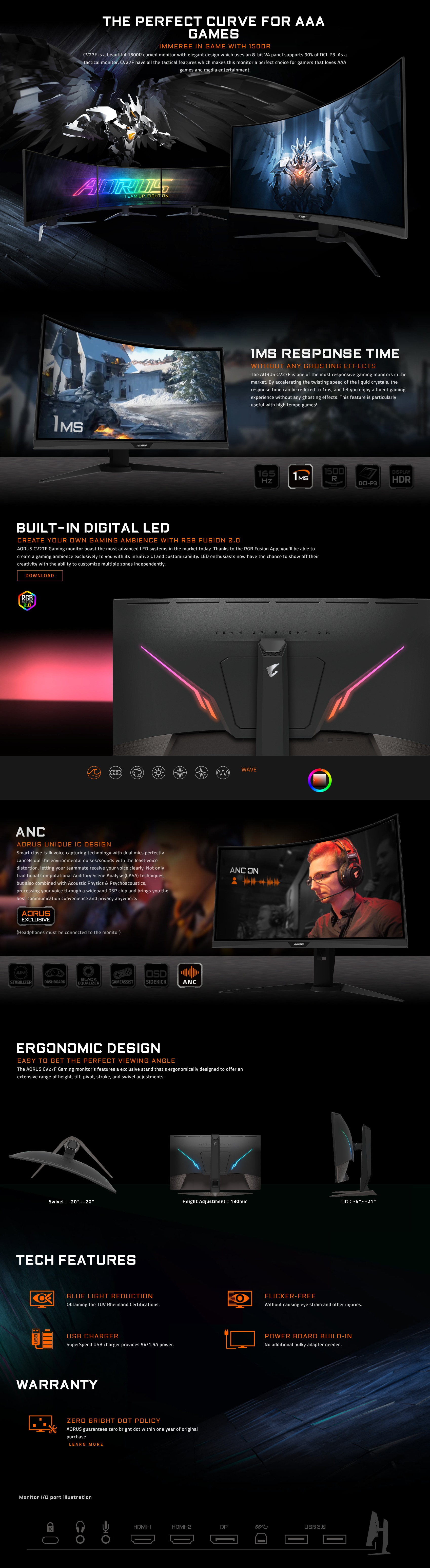 """A large marketing image providing additional information about the product Gigabyte Aorus CV27F 27"""" Full HD FreeSync Curved 165Hz 1MS HDR400 VA LED Gaming Monitor - Additional alt info not provided"""