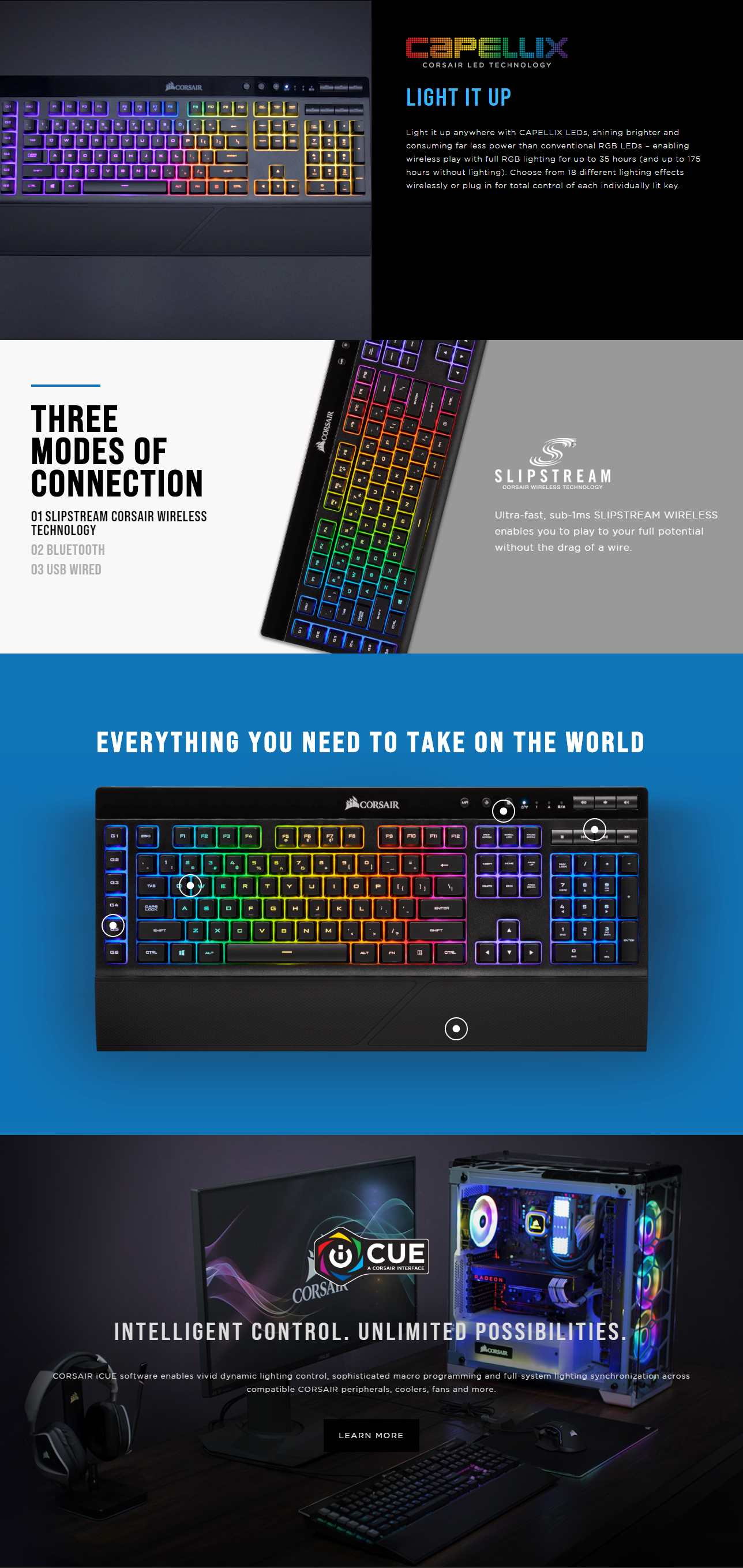 A large marketing image providing additional information about the product Corsair Gaming K57 RGB Wireless Keyboard - Additional alt info not provided