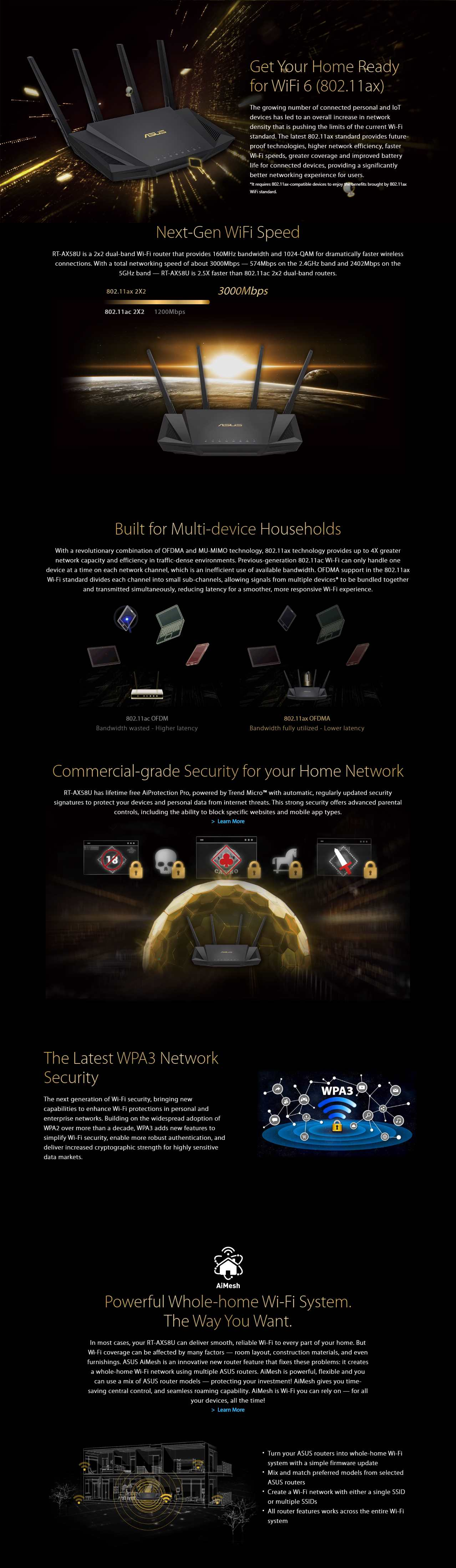 A large marketing image providing additional information about the product ASUS RT-AX3000 802.11ax Dual-Band AiMesh Gigabit Router - Additional alt info not provided