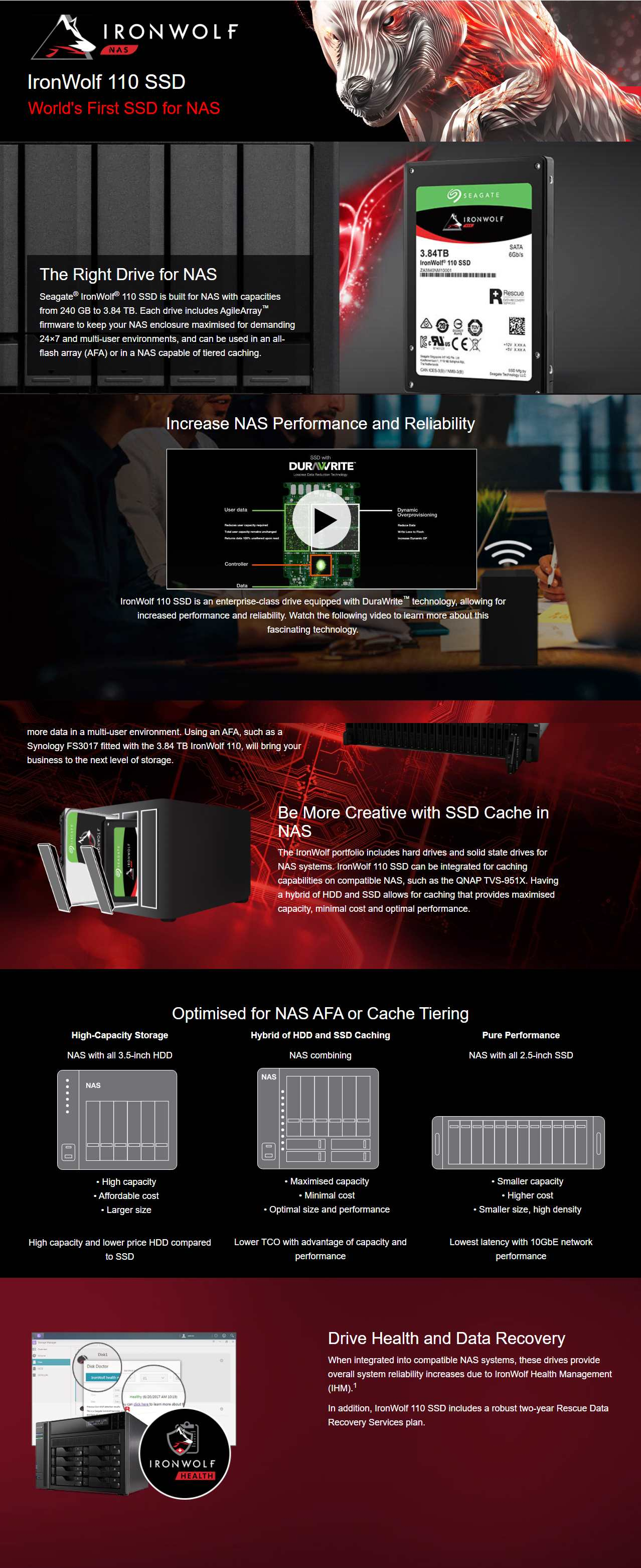 """A large marketing image providing additional information about the product Seagate IronWolf 110 2.5"""" 960GB NAS SSD - Additional alt info not provided"""