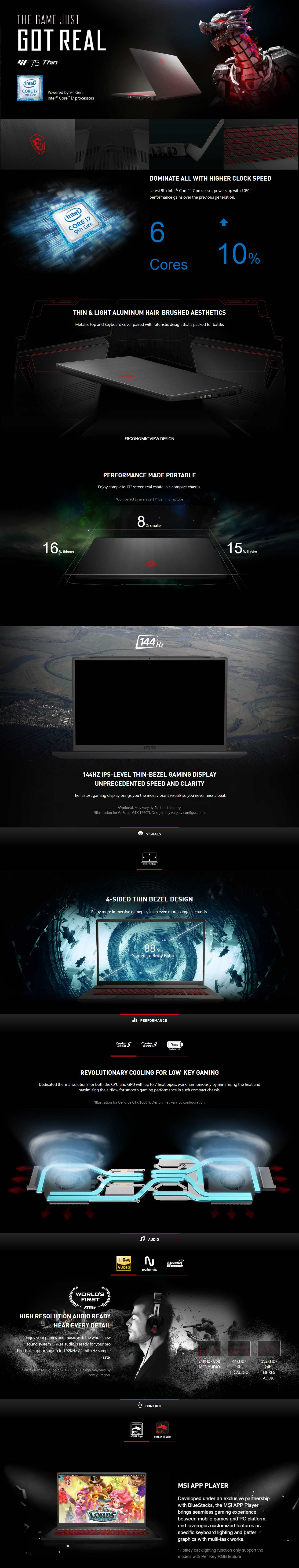 """A large marketing image providing additional information about the product MSI GF75 Thin 9SC-291AU 17.3"""" i7 GTX 1650 Windows 10 Gaming Notebook - Additional alt info not provided"""