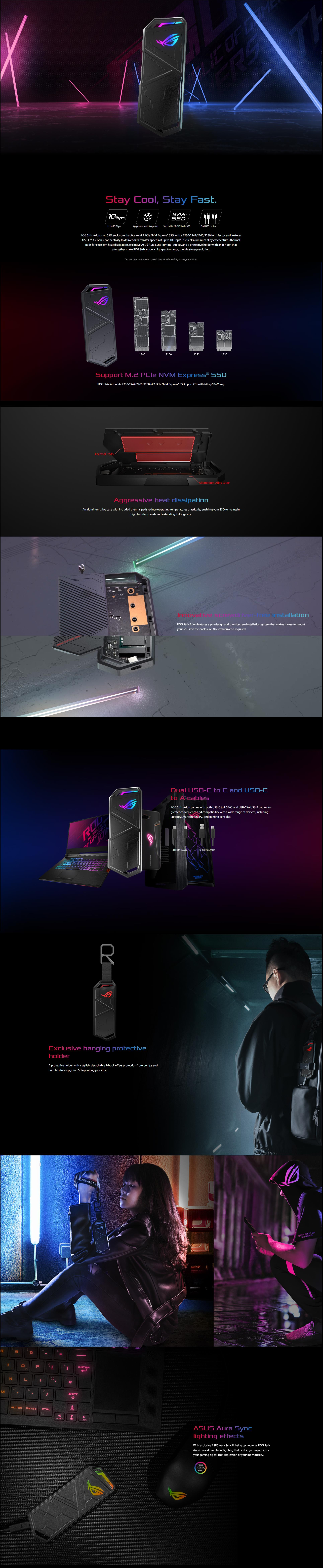 A large marketing image providing additional information about the product ASUS ROG Strix Arion USB-C NVMe M.2 Enclosure - Additional alt info not provided