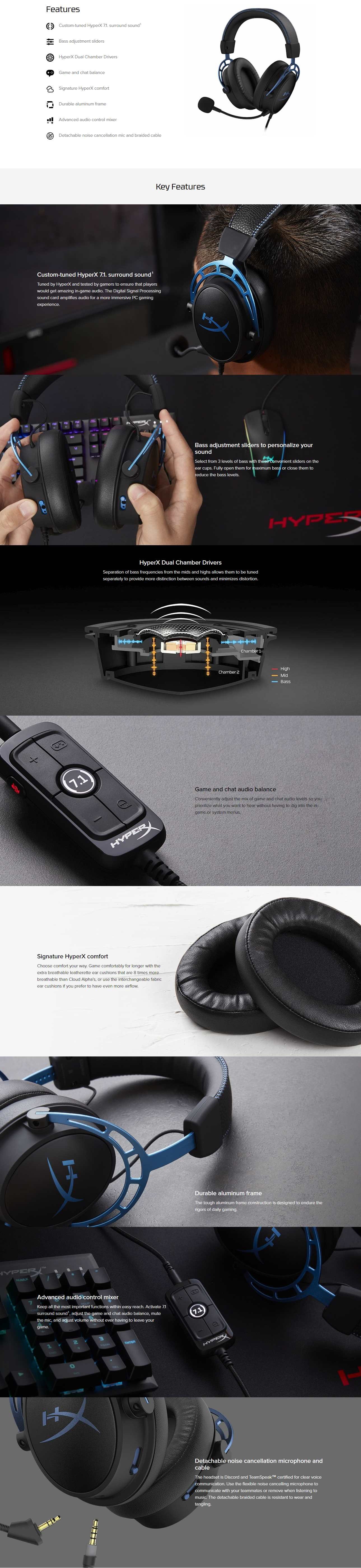 A large marketing image providing additional information about the product Kingston HyperX Cloud Alpha S Gaming Headset - Additional alt info not provided