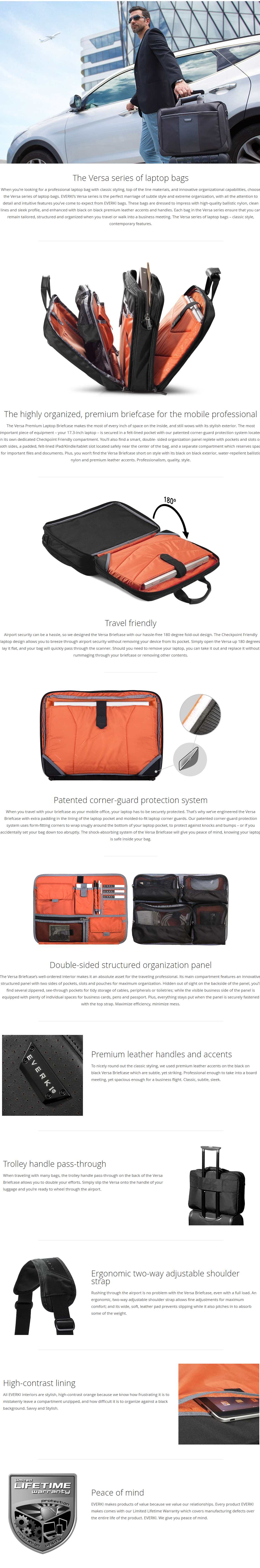 """A large marketing image providing additional information about the product Everki 17.3"""" Versa Checkpoint Friendly Briefcase - Additional alt info not provided"""