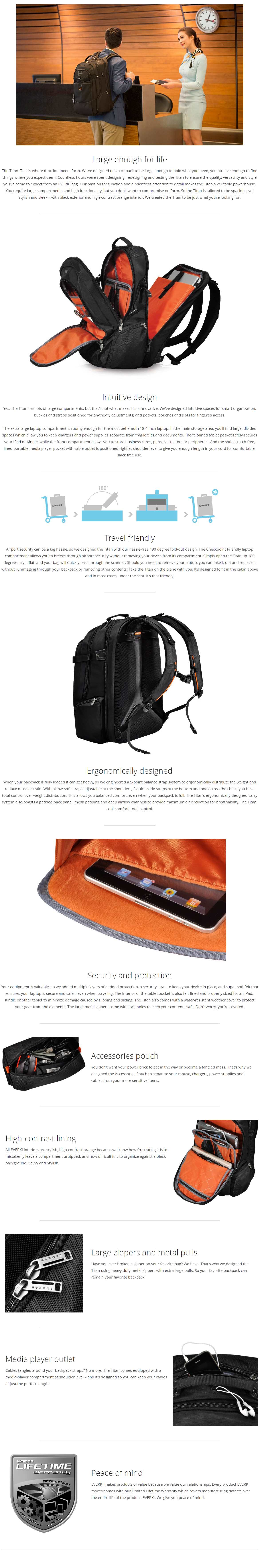 """A large marketing image providing additional information about the product Everki 18.4"""" Titan Backpack - Additional alt info not provided"""