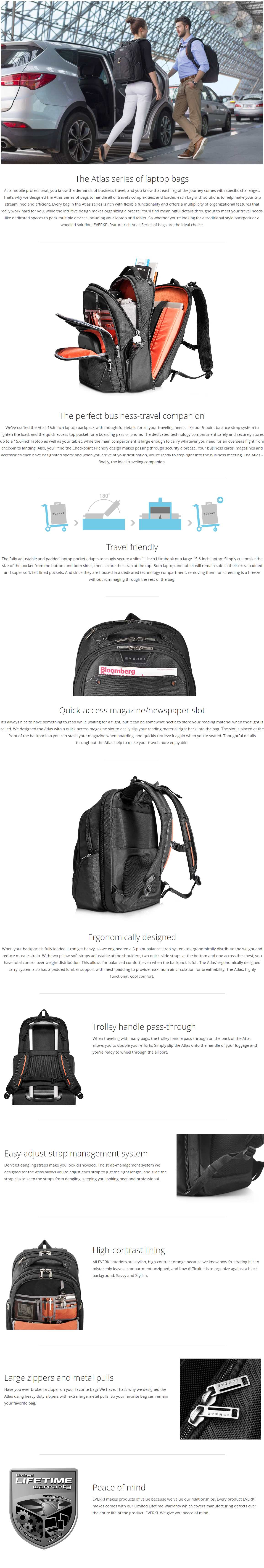 A large marketing image providing additional information about the product Everki Atlas Checkpoint Friendly Laptop Backpack - Additional alt info not provided