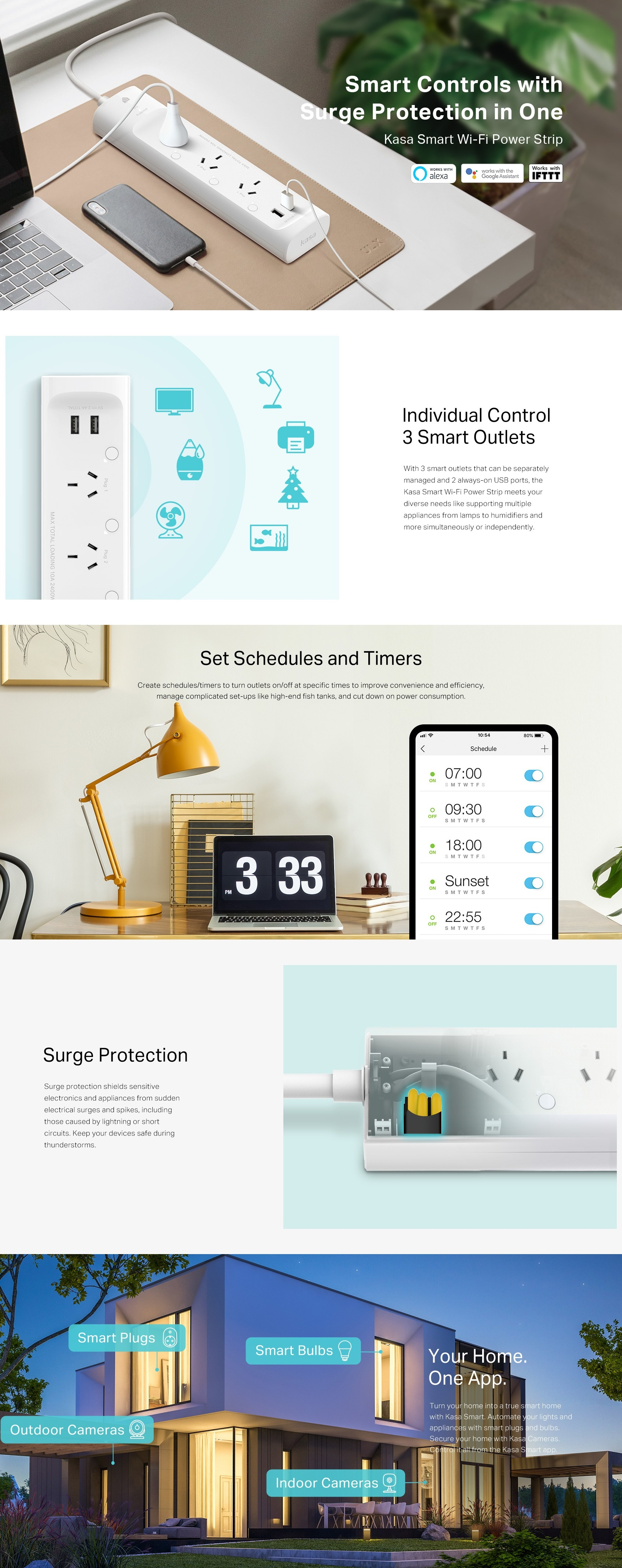 A large marketing image providing additional information about the product TP-LINK Kasa Smart Wi-Fi 3-Outlet Power Strip - Additional alt info not provided