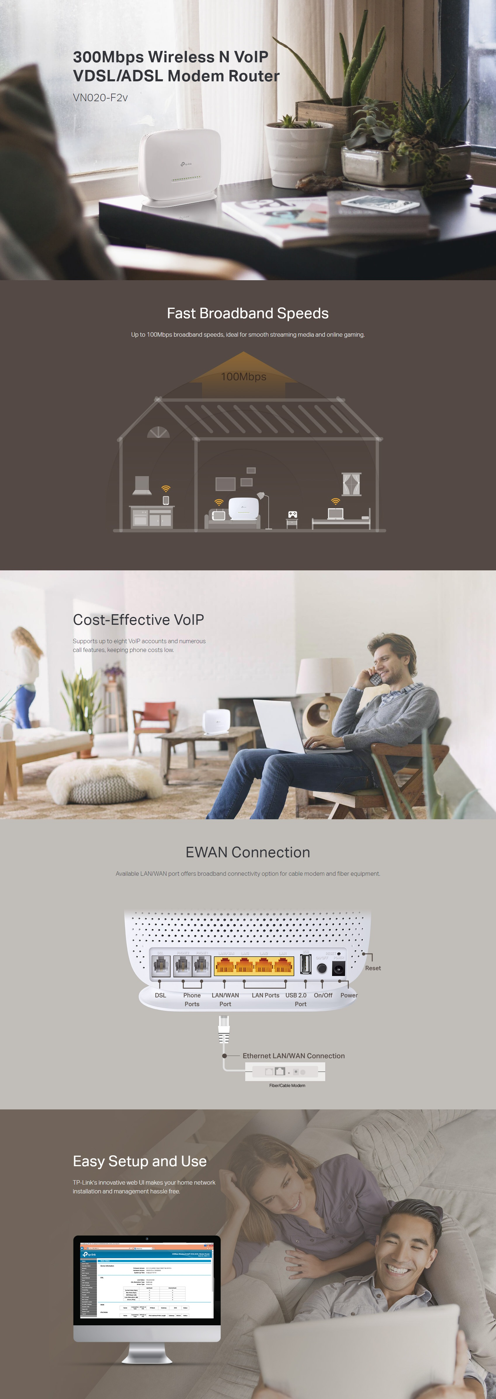 A large marketing image providing additional information about the product TP-Link VN020-F2v 300Mbps Wireless N VoIP VDSL/ADSL Modem Router - Additional alt info not provided