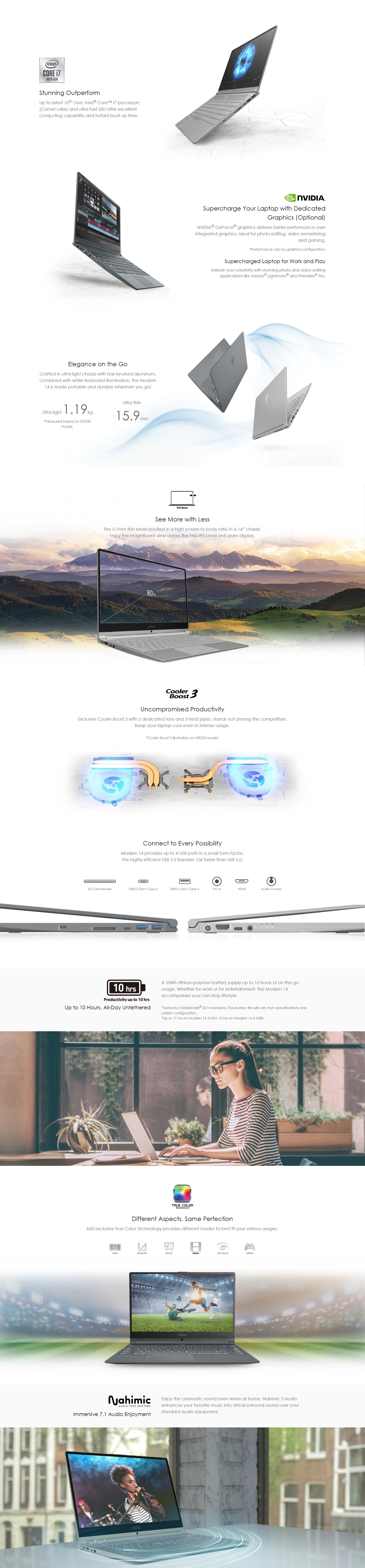 """A large marketing image providing additional information about the product MSI Modern 14 A10M-457AU 14"""" i5 Windows 10 Notebook - Additional alt info not provided"""