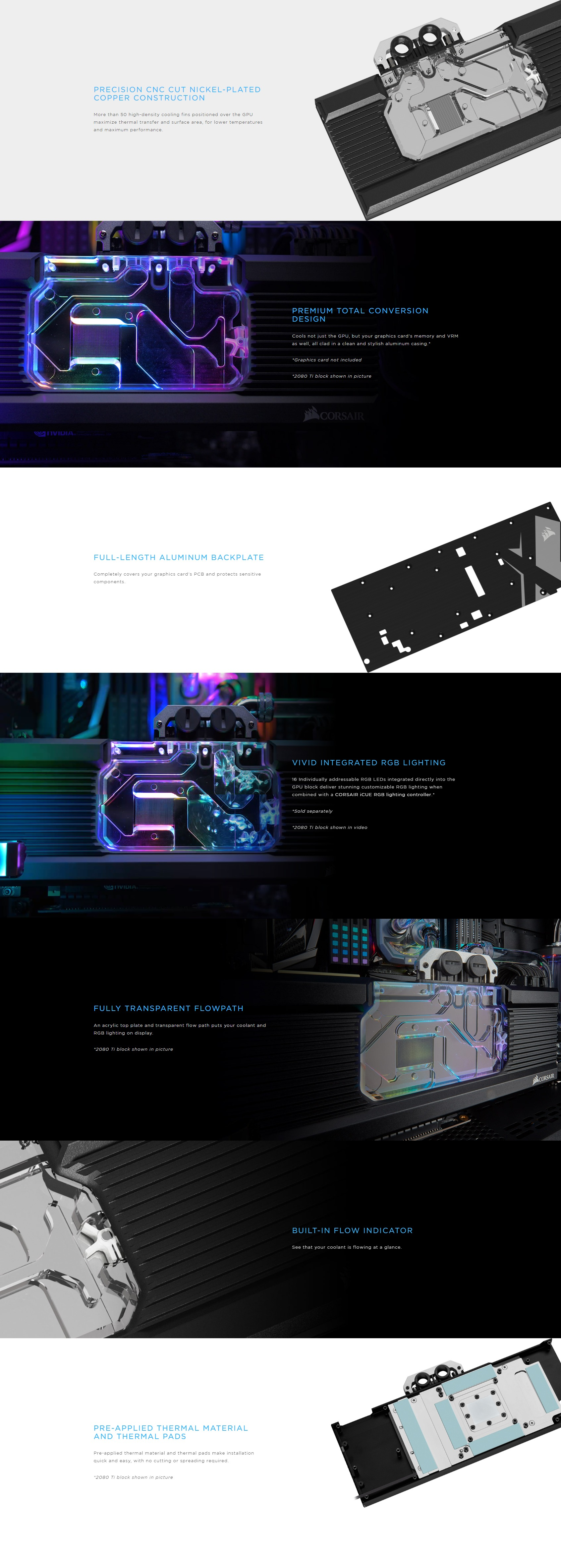 A large marketing image providing additional information about the product Corsair Hydro X Series XG7 RGB (5700 XT) GPU Waterblock - Additional alt info not provided
