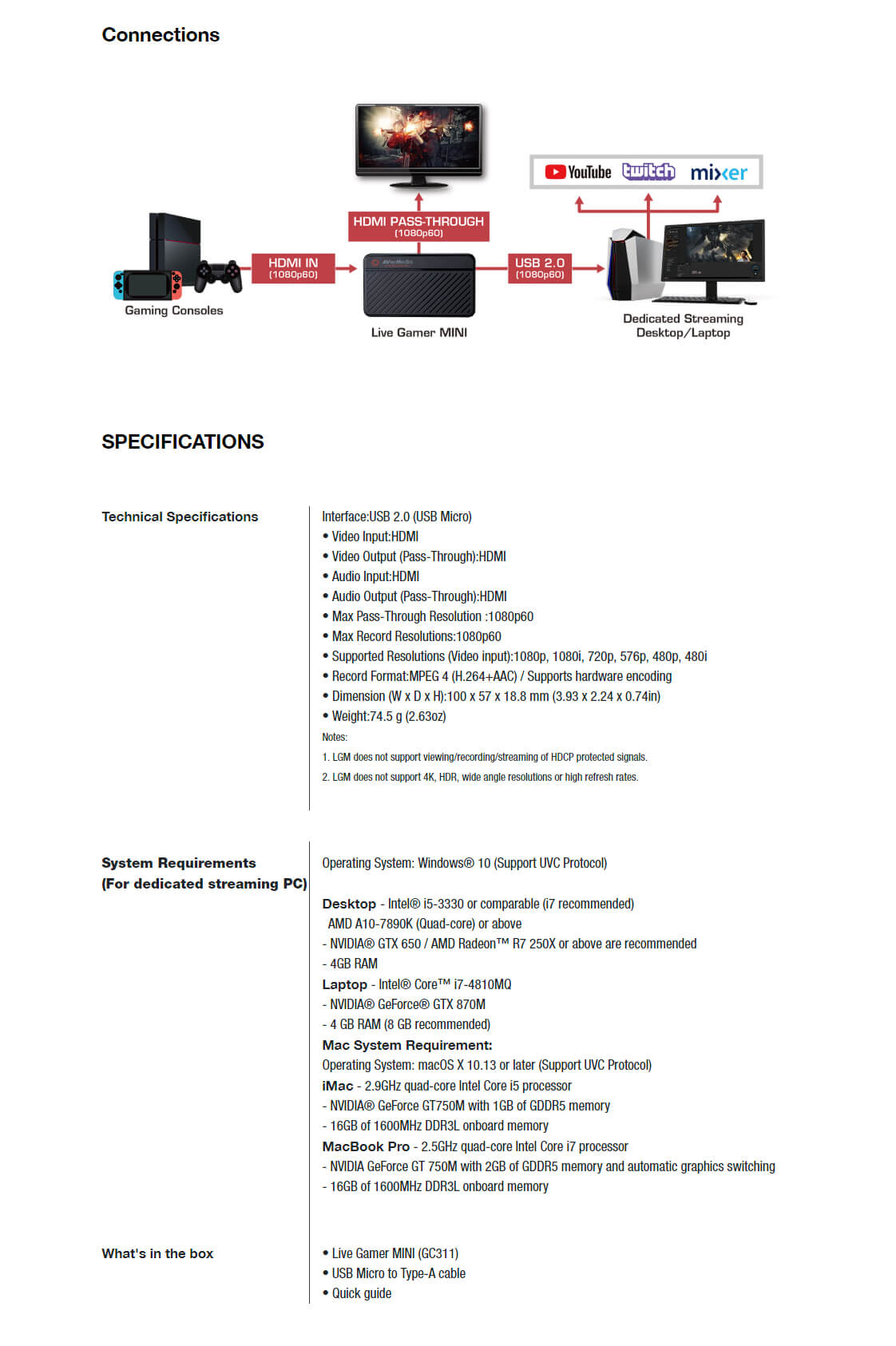 A large marketing image providing additional information about the product AverMedia GC311 Live Gamer Mini Capture Device - Additional alt info not provided