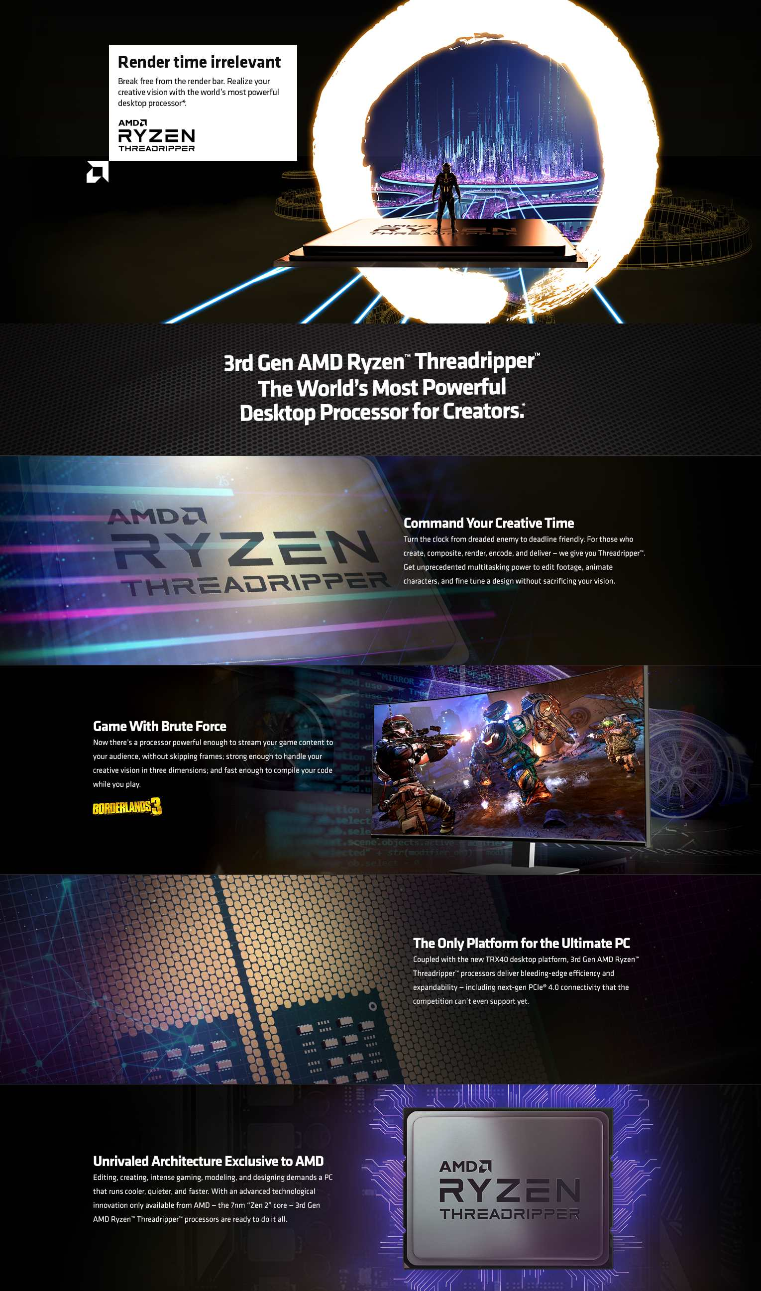 A large marketing image providing additional information about the product AMD Ryzen Threadripper 3970X 32 Core 64 Thread Up To 4.5Ghz 128MB sTRX4 Processor - No HSF Retail Box - Additional alt info not provided