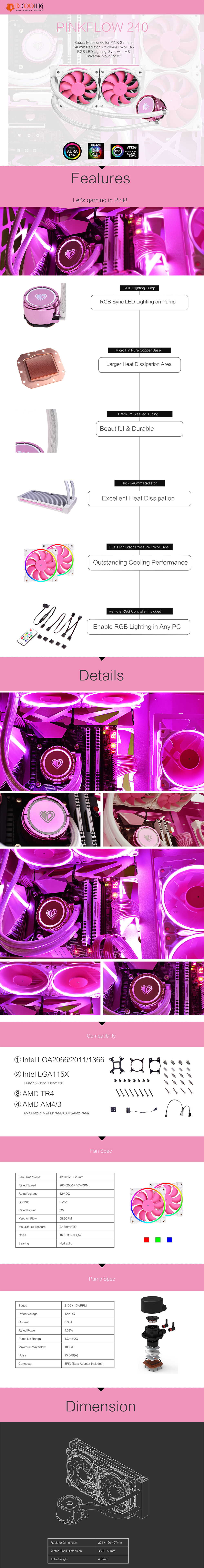 A large marketing image providing additional information about the product ID-COOLING PinkFlow 240 Addressable RGB AIO CPU Liquid Cooler - Additional alt info not provided