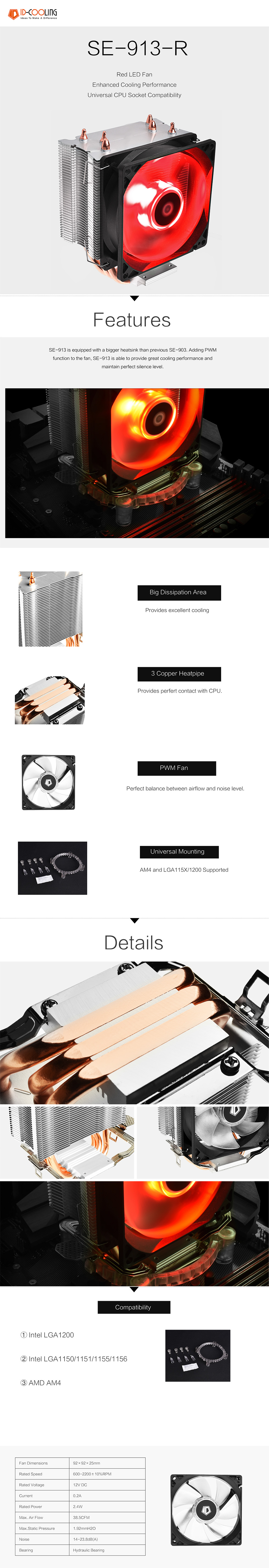 A large marketing image providing additional information about the product ID-COOLING Sweden Series SE-913-R PWM Red LED CPU Cooler - Additional alt info not provided