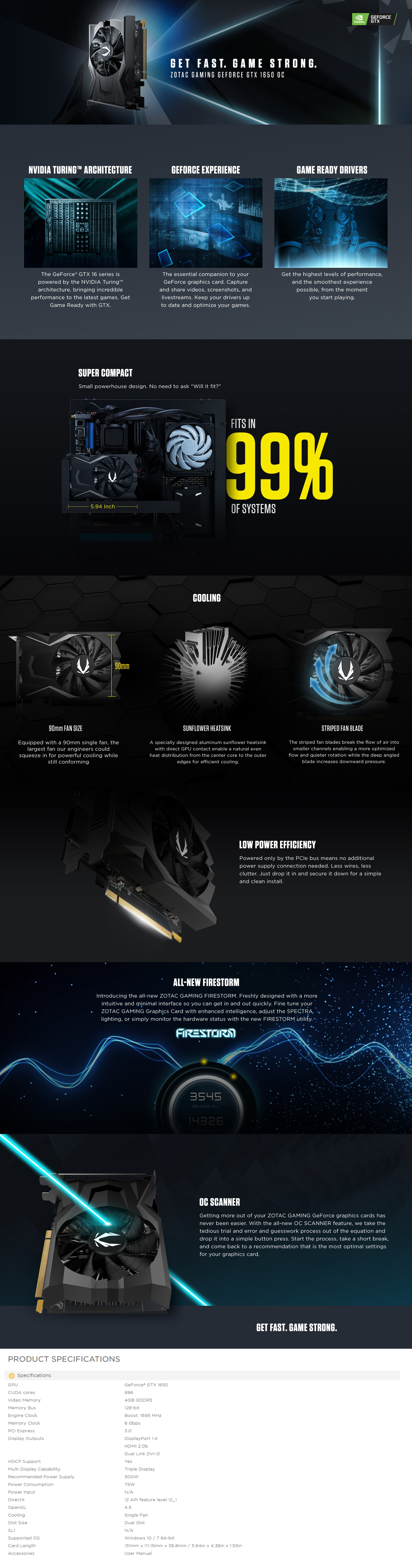 A large marketing image providing additional information about the product ZOTAC GAMING GeForce GTX1650 OC 4GB GDDR5 - Additional alt info not provided