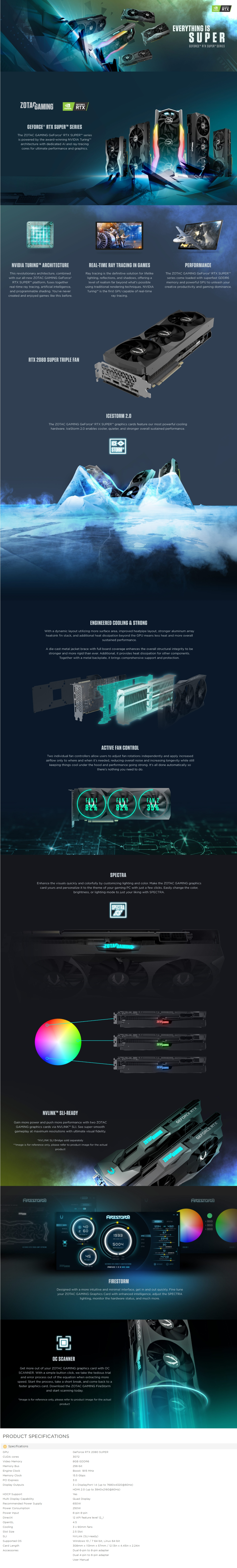 A large marketing image providing additional information about the product ZOTAC GAMING Geforce RTX2080 Super Triple Fan 8GB GDDR6  - Additional alt info not provided