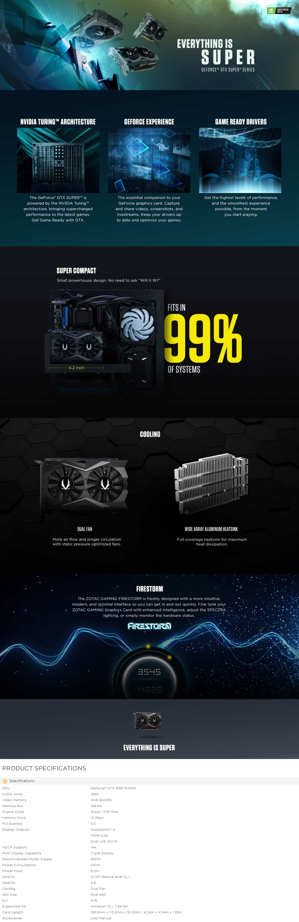 A large marketing image providing additional information about the product ZOTAC GAMING GeForce GTX1650 SUPER Twin Fan - Additional alt info not provided