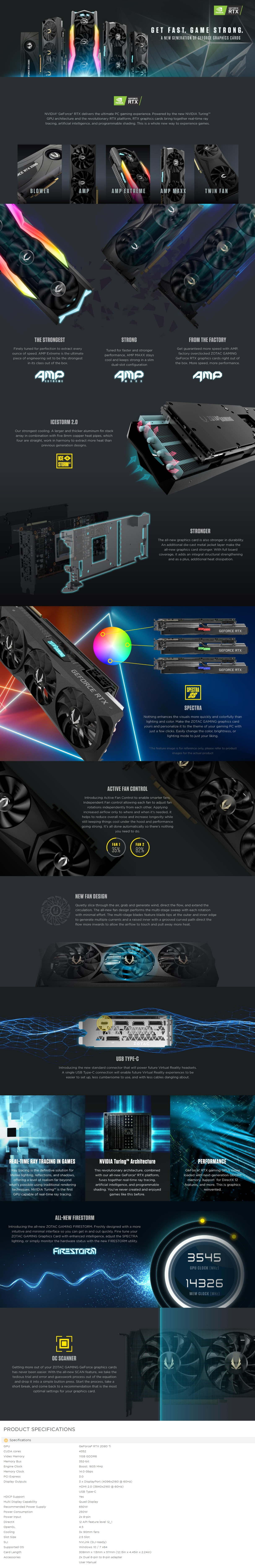 A large marketing image providing additional information about the product ZOTAC GAMING Geforce RTX2080Ti Triple Fan 11GB GDDR6 - Additional alt info not provided