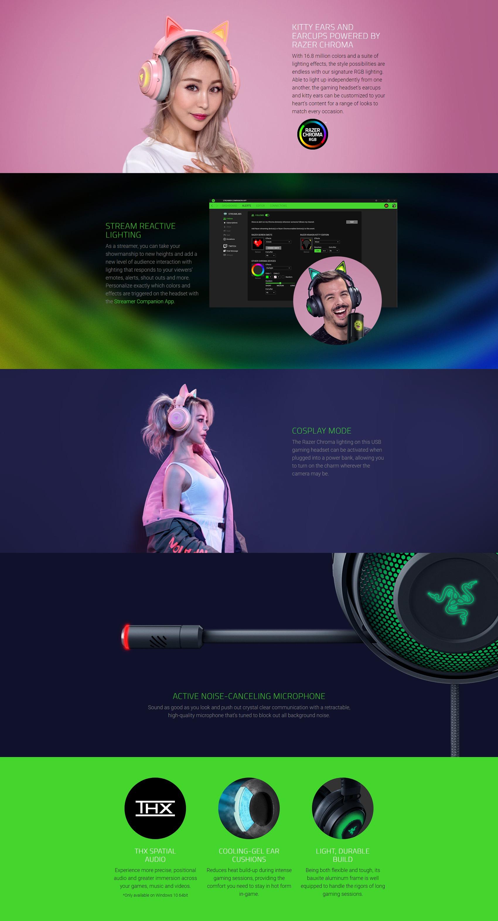 A large marketing image providing additional information about the product Razer Kraken Kitty - Chroma USB Gaming Headset - Black - Additional alt info not provided