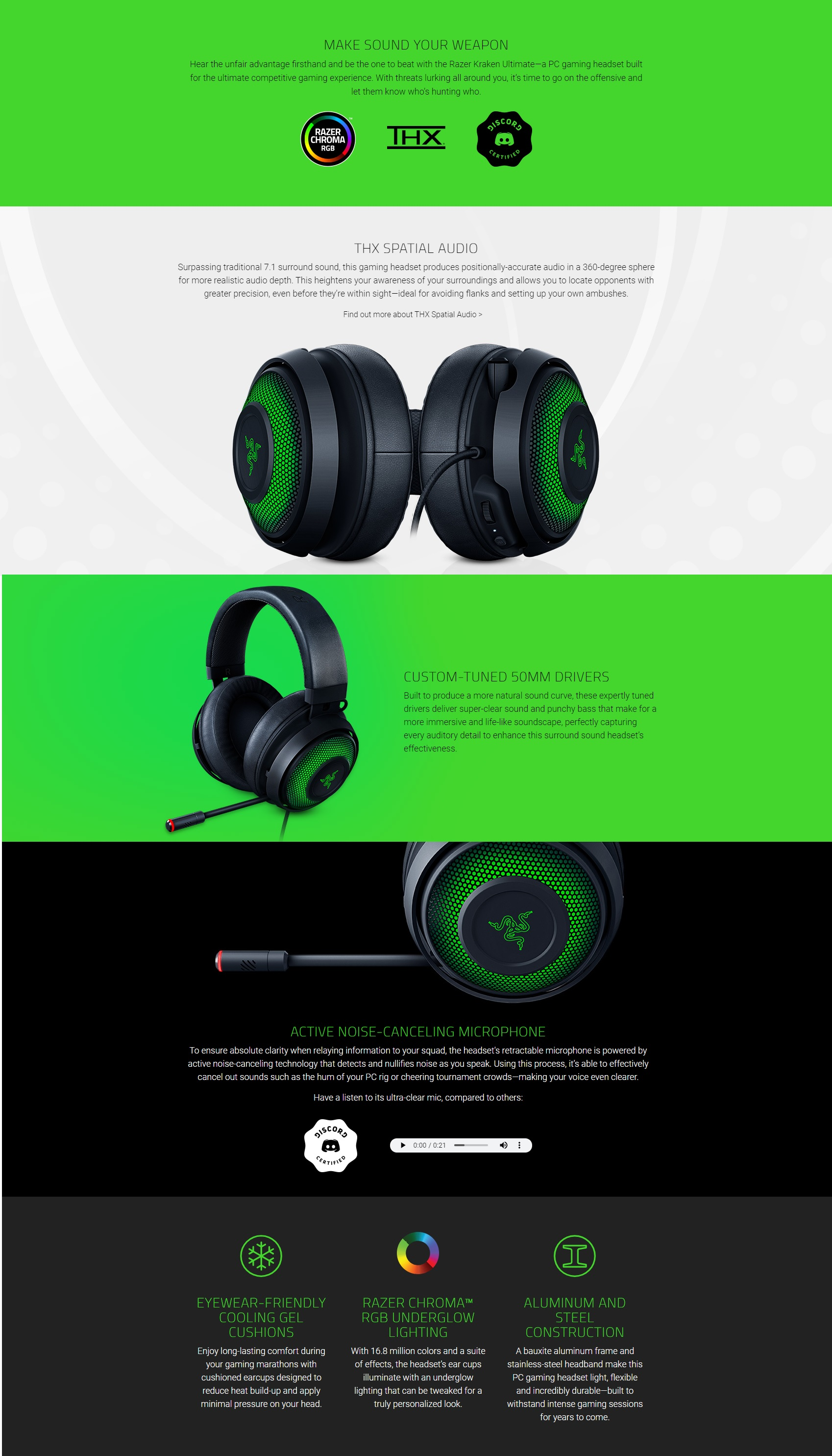 A large marketing image providing additional information about the product Razer Kraken Ultimate - USB Surround Sound Headset with ANC Microphone - Black - Additional alt info not provided