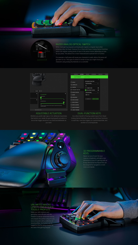 A large marketing image providing additional information about the product Razer Tartarus Pro – Analog Optical Gaming Keypad - Additional alt info not provided
