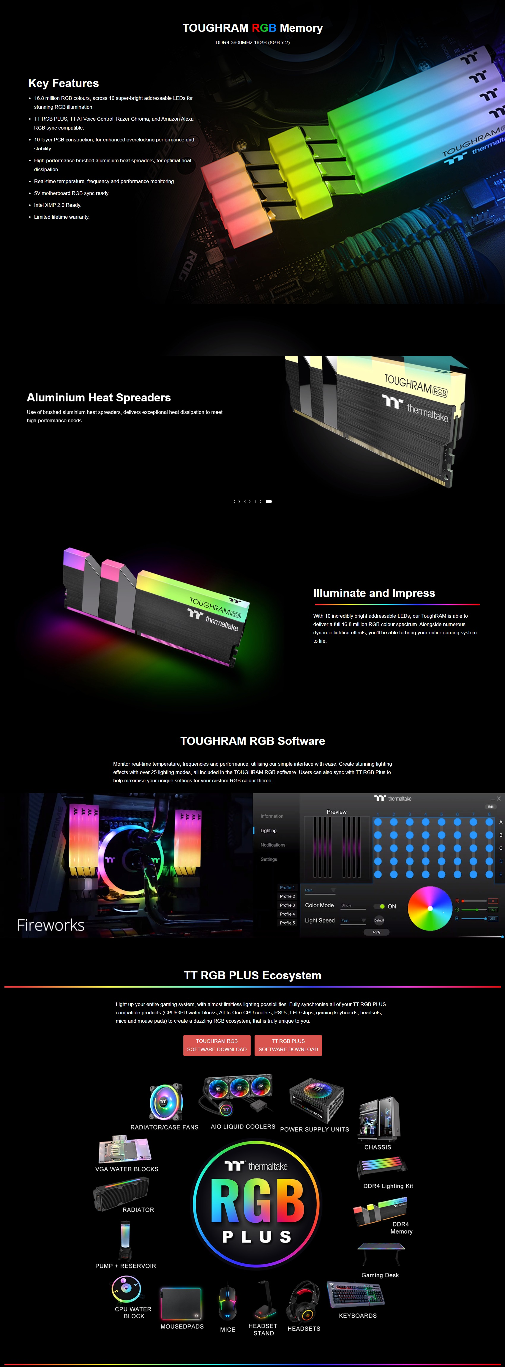 A large marketing image providing additional information about the product Thermaltake 16GB (2x8GB) ToughRAM RGB C19 4000MHz - Additional alt info not provided