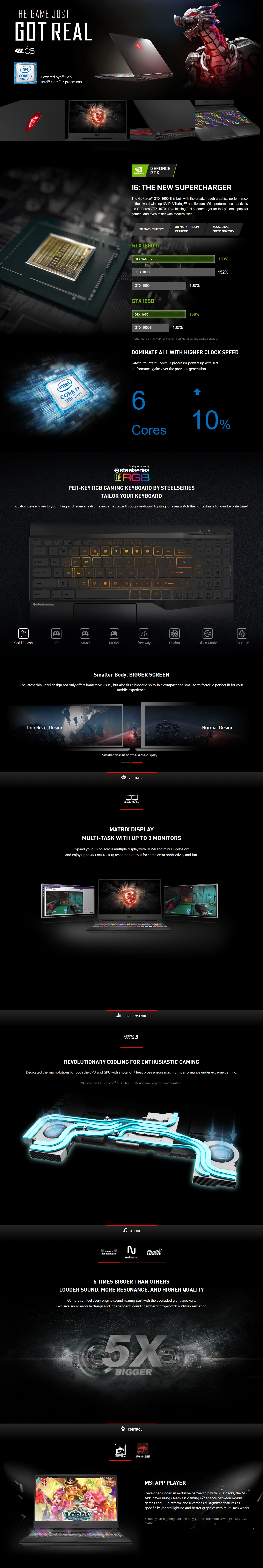 """A large marketing image providing additional information about the product MSI GL65-9SDK-090AU 15.6"""" GTX1660Ti Windows 10 Gaming Notebook - Additional alt info not provided"""