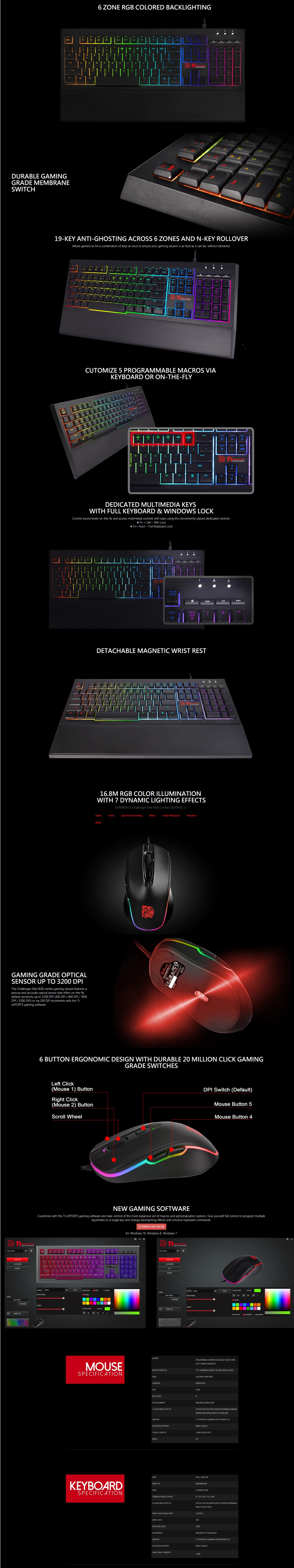 A large marketing image providing additional information about the product Thermaltake Challenger Elite RGB Gaming Keyboard & Mouse Combo - Additional alt info not provided