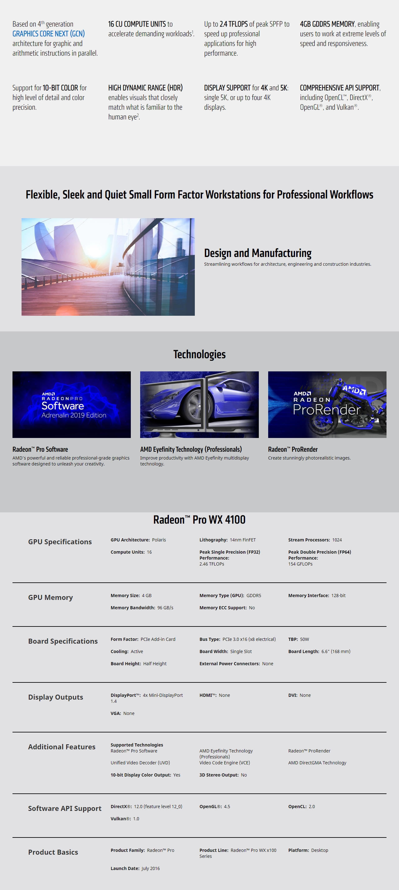 A large marketing image providing additional information about the product AMD Radeon Pro WX 4100 4GB GDDR5 - Additional alt info not provided