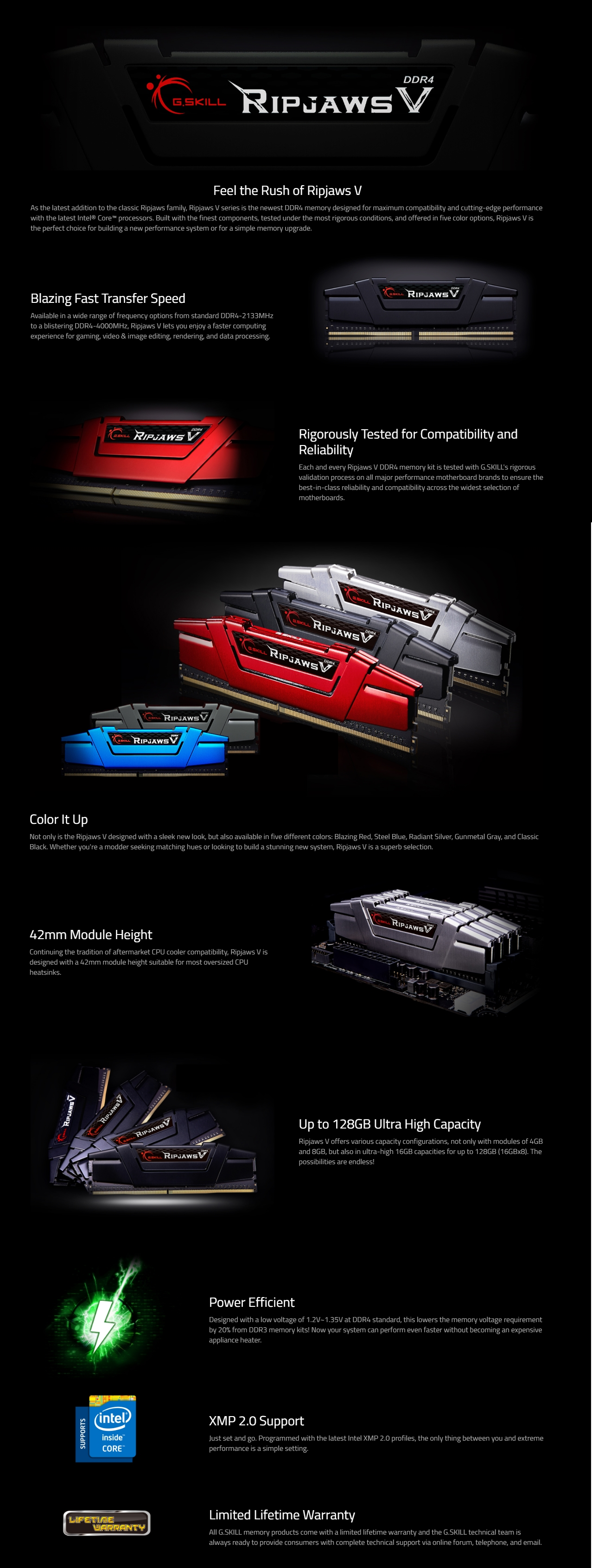 A large marketing image providing additional information about the product G.Skill 64GB Kit (2x32GB) DDR4 Ripjaws V C16 3200Mhz - Additional alt info not provided