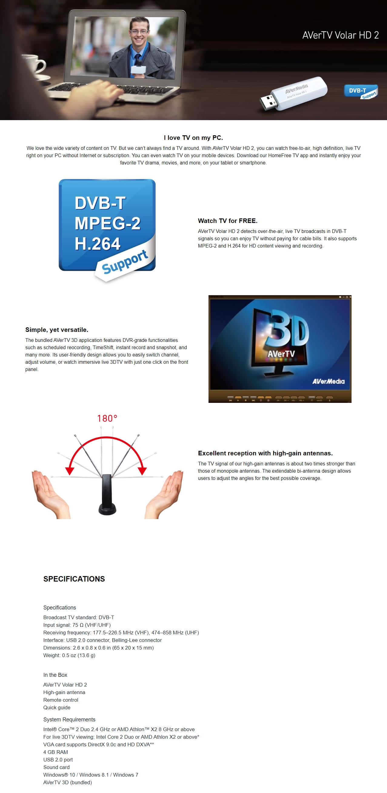 A large marketing image providing additional information about the product AVerMedia TD110 AverTV Volar HD 2 USB TV Tuner - Additional alt info not provided