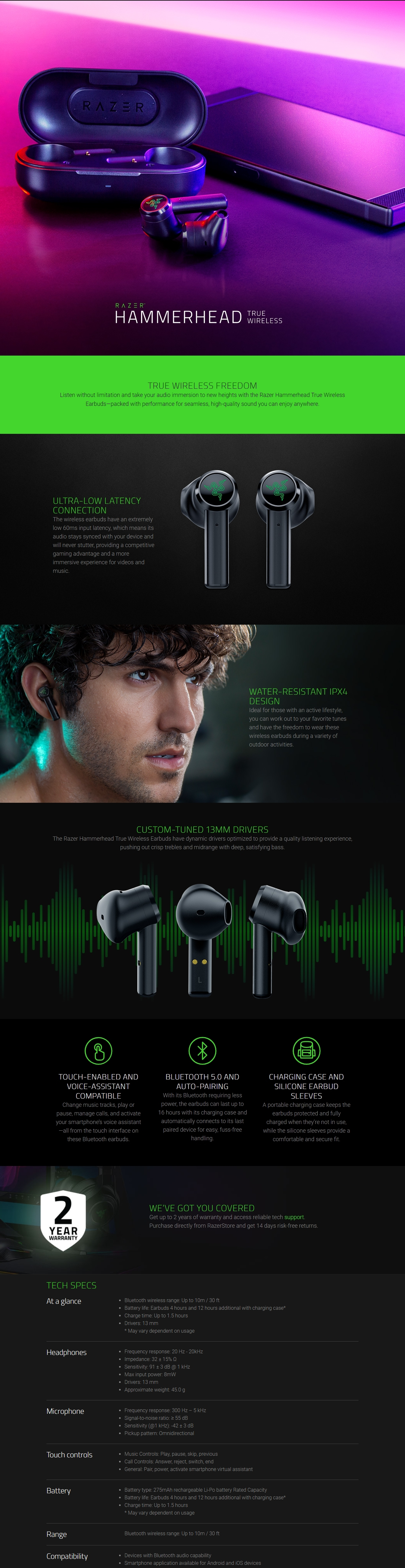 A large marketing image providing additional information about the product Razer Hammerhead Wireless In-Ear Headphones - Additional alt info not provided
