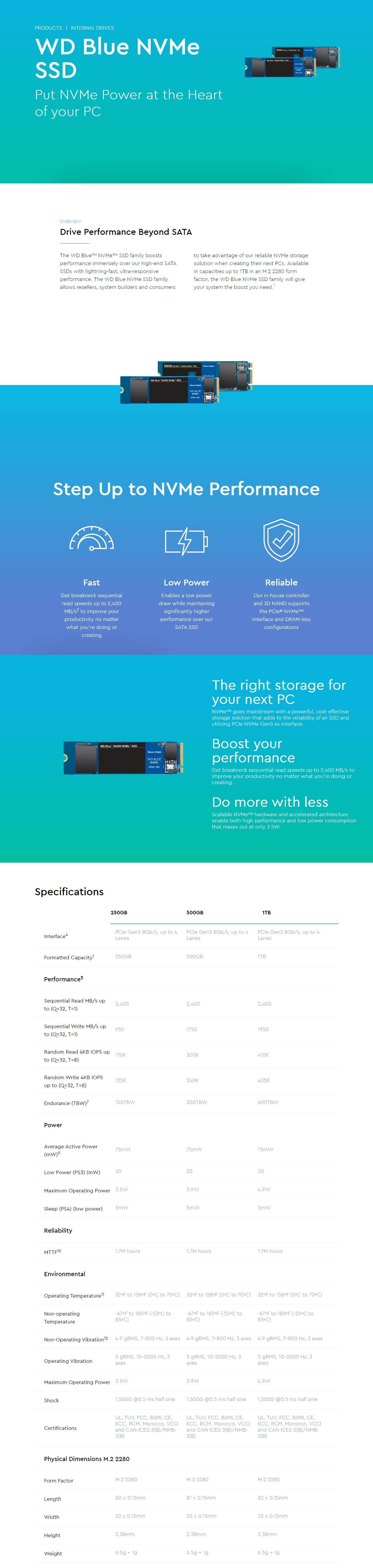 A large marketing image providing additional information about the product WD Blue SN550 250GB NVMe M.2 SSD - Additional alt info not provided