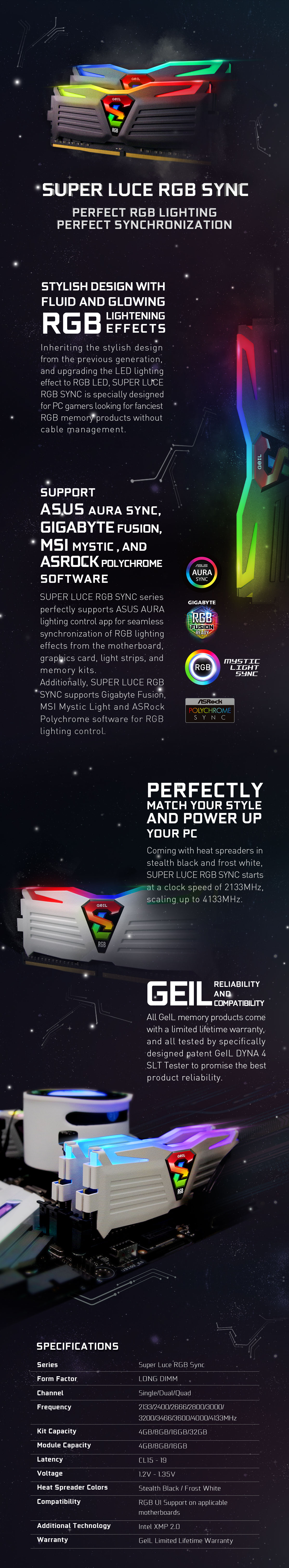 A large marketing image providing additional information about the product GeIL 32GB Kit (2x16GB) DDR4 SUPER LUCE RGB SYNC C16 3000MHz - Additional alt info not provided