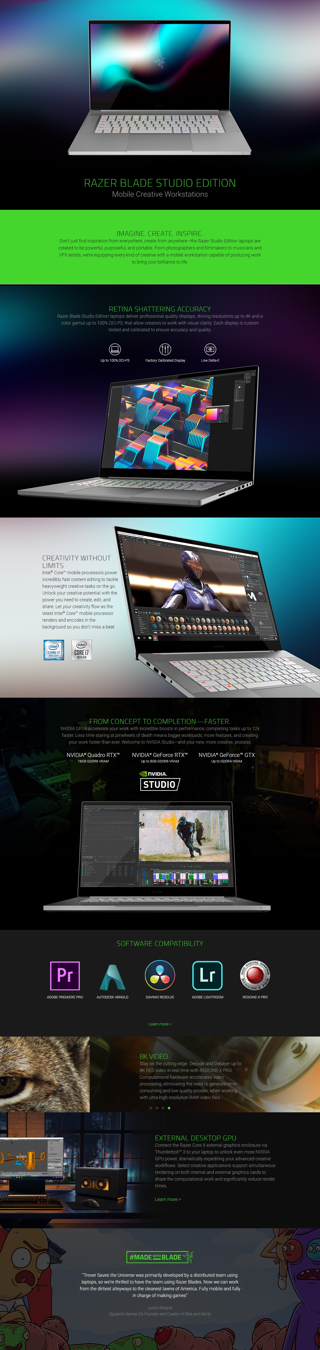 "A large marketing image providing additional information about the product Razer Blade 15 Studio Edition 15.6"" RTX 5000 Windows 10 Pro Notebook - Additional alt info not provided"