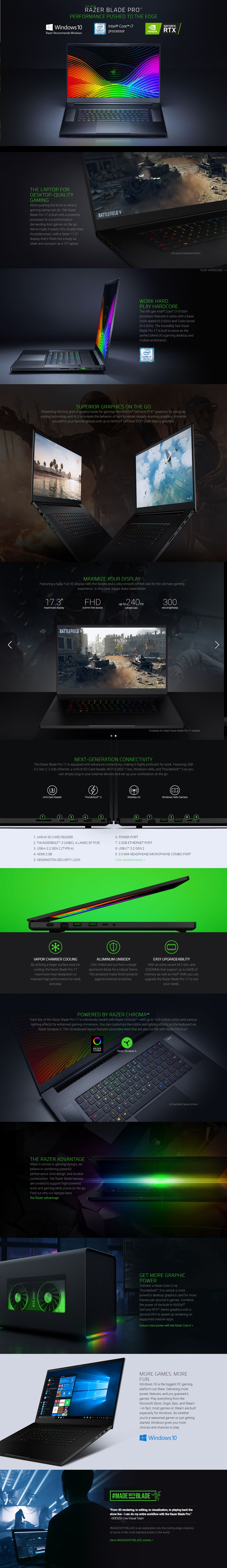 "A large marketing image providing additional information about the product Razer Blade 17 Pro 17"" i7 RTX2070 Windows 10 Gaming Notebook - Additional alt info not provided"