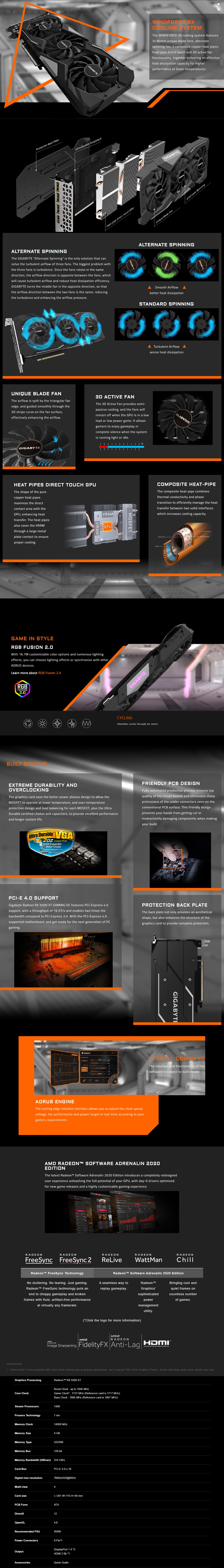 A large marketing image providing additional information about the product Gigabyte Radeon RX 5500 XT GAMING OC 4GB GDDR6 - Additional alt info not provided