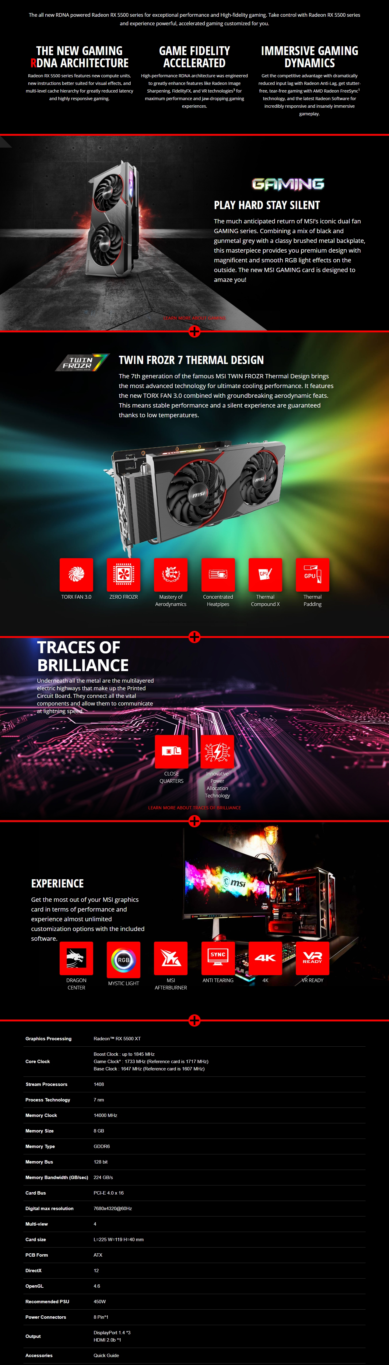 A large marketing image providing additional information about the product MSI Radeon RX 5500 XT Gaming X 8GB GDDR6 - Additional alt info not provided