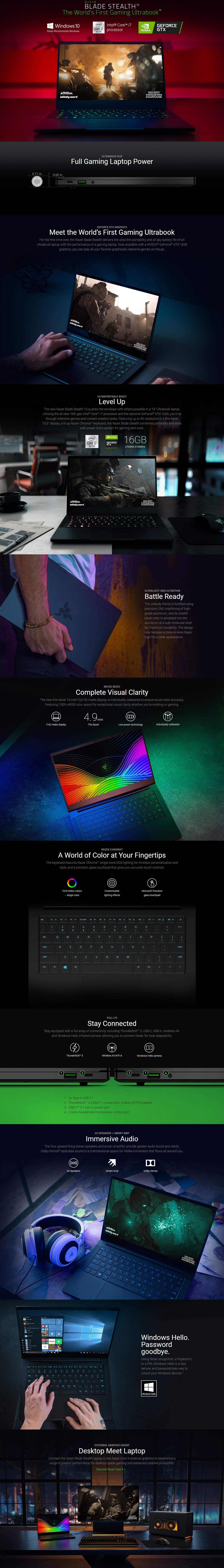 """A large marketing image providing additional information about the product Razer Blade Stealth 13.3"""" i7 Windows 10 Notebook - Additional alt info not provided"""