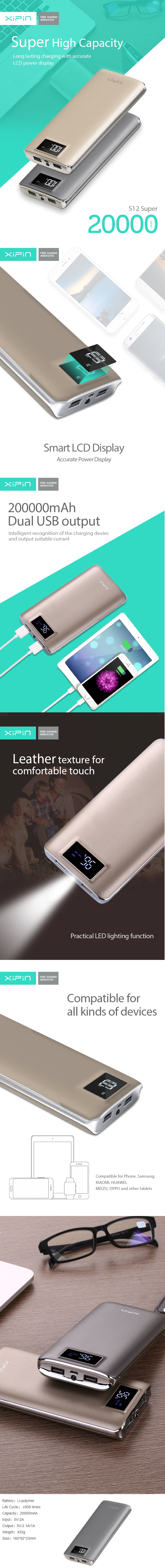 A large marketing image providing additional information about the product XiPin S12 Super 20000mAh 5v 2A Power Bank w/ LCD Display - Grey - Additional alt info not provided