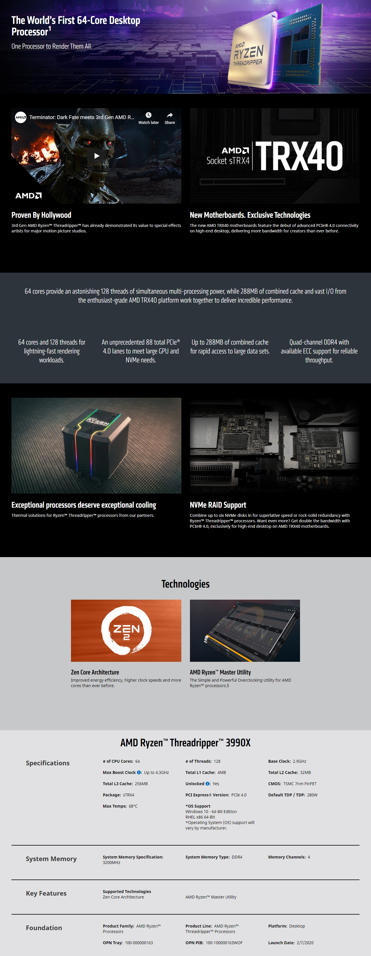 A large marketing image providing additional information about the product AMD Ryzen Threadripper 3990X 64 Core 128 Thread Up To 4.3Ghz sTRX4 - No HSF Retail Box - Additional alt info not provided