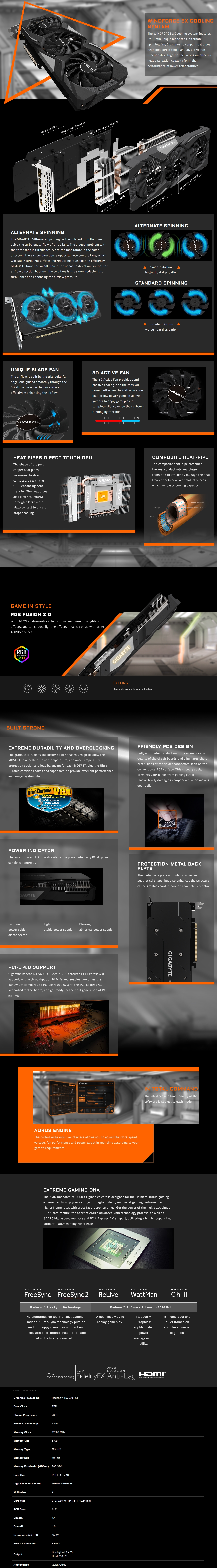 A large marketing image providing additional information about the product Gigabyte Radeon RX 5600 XT Gaming OC 6GB GDDR6 - Additional alt info not provided