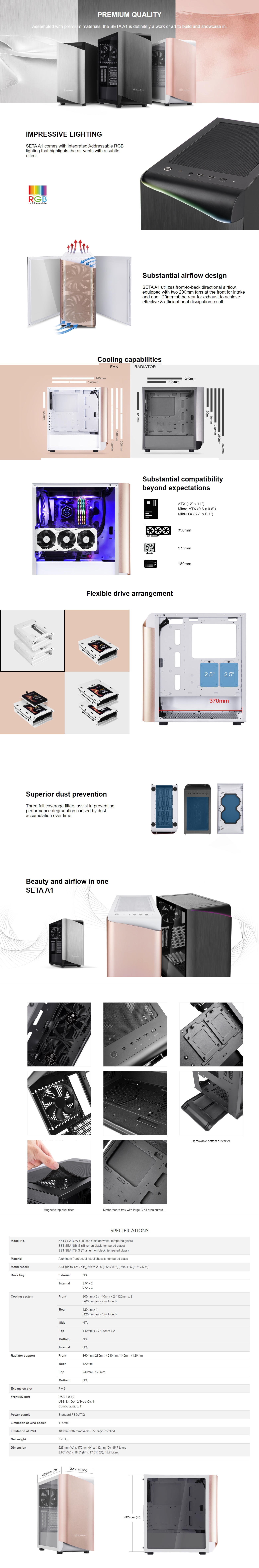 A large marketing image providing additional information about the product SilverStone SETA A1 Titanium Mid Tower Case w/Tempered Glass Side Panel - Additional alt info not provided