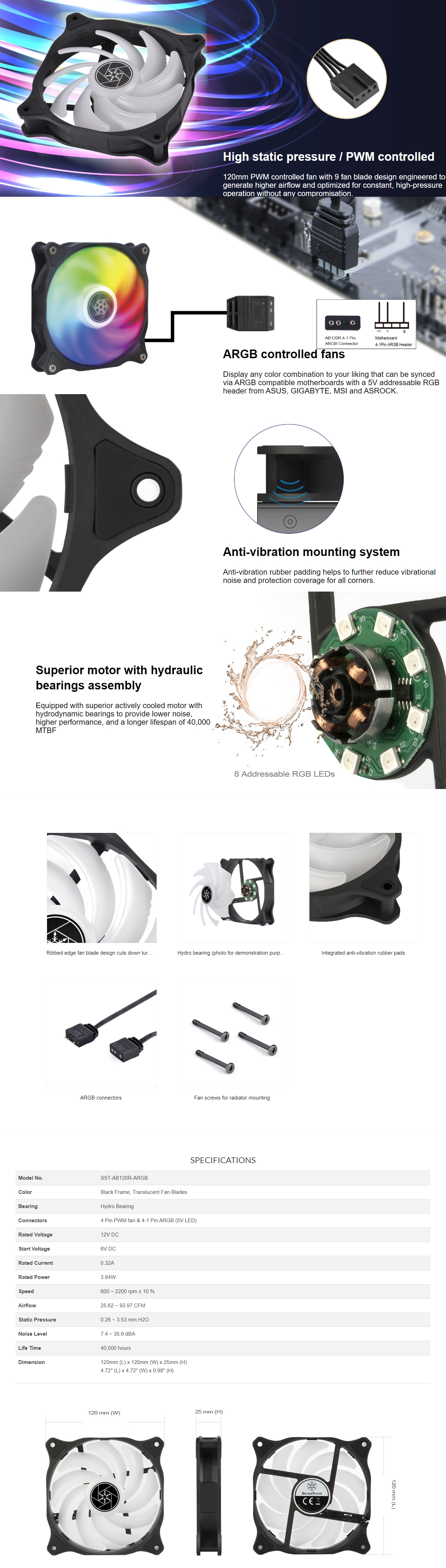 A large marketing image providing additional information about the product SilverStone Air Blazer 120R Addressable RGB 120mm Fan  - Additional alt info not provided