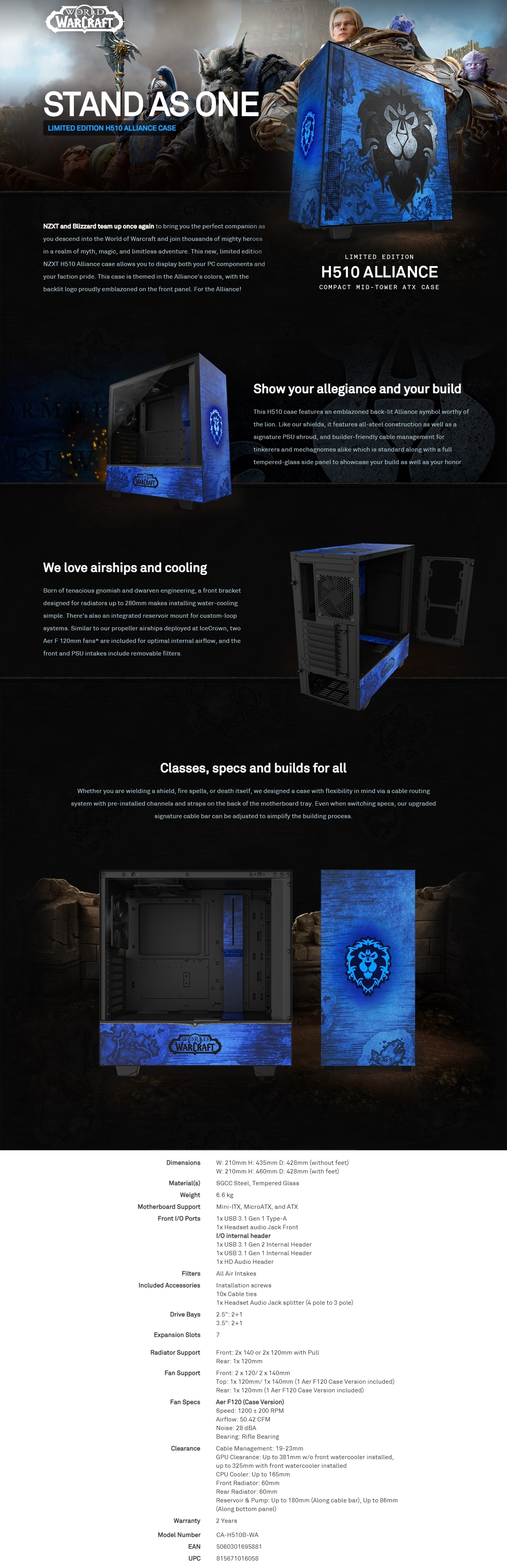 A large marketing image providing additional information about the product NZXT H510 World Of Warcraft Alliance Limited Edition Mid Tower Case - Additional alt info not provided