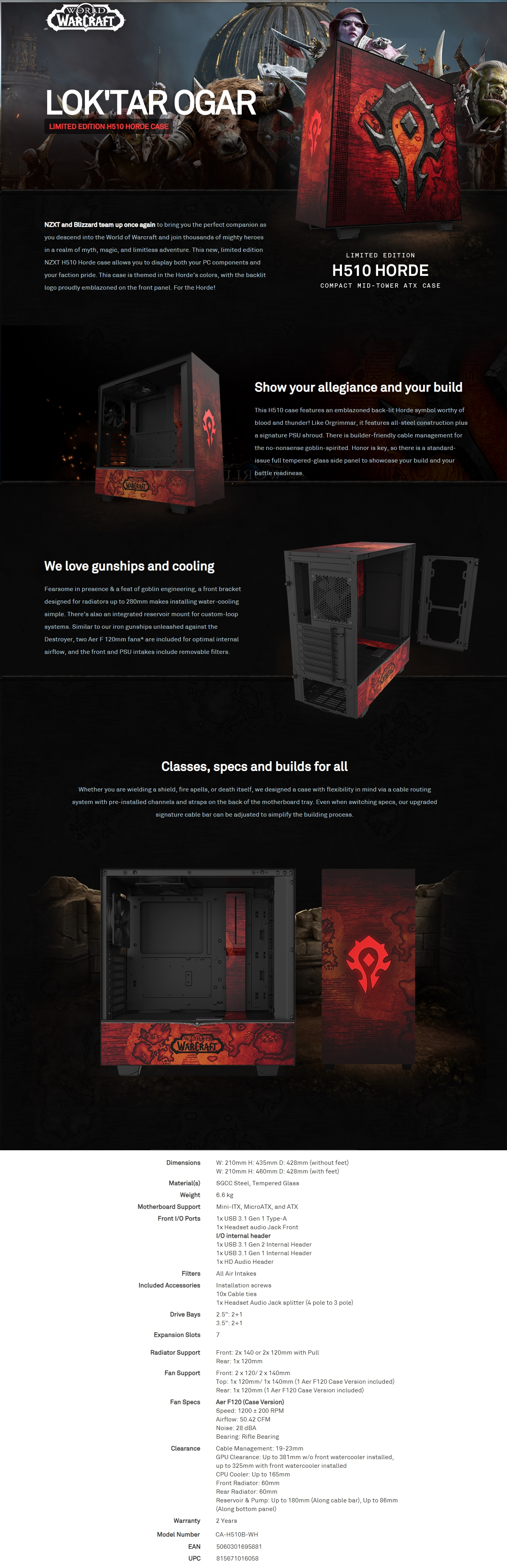 A large marketing image providing additional information about the product NZXT H510 World Of Warcraft Horde Limited Edition Mid Tower Case - Additional alt info not provided