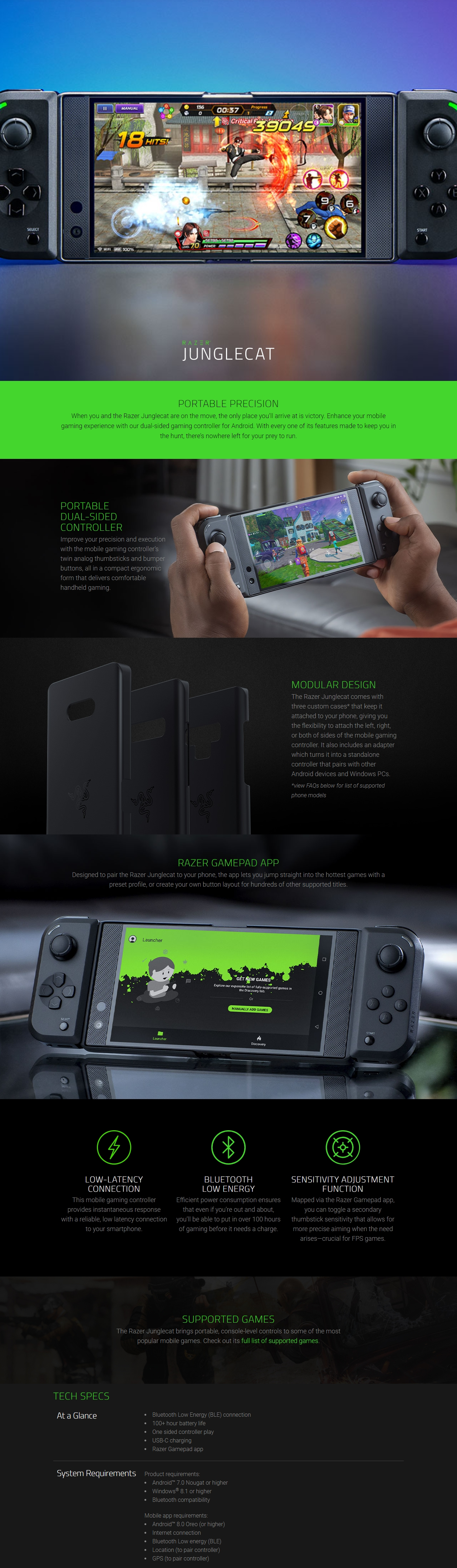 A large marketing image providing additional information about the product Razer JungleCat Android Compatible Gaming Controller - Additional alt info not provided